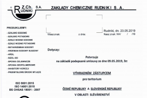 "We have become an exclusive representative of the company Zakłady Chemiczne ""Rudniki"" S.A."